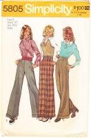 Simplicity 5805 70s Cuffed, Wide-Leg, High Waist Pants Sewing Pattern 8 Waist 24 Used