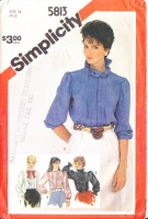Simplicity 5813 High Neck Ruffle, Pin Tuck, Front Button Shirt Sewing Pattern 14 B36 Uncut