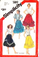 Simplicity 5819 Flounced Farmer's Daughter, Prairie Skirt Sewing Pattern 10 Waist 25 Used