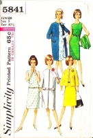 Simplicity 5841 60s Sleeveless, Round Neck Dress with Long or Hip Length Coat Jacket Sewing Pattern  9 B30 Used