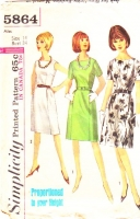 Simplicity 5864 60s A-Line, Collarless, Sleeveless or Short Sleeve Dress Sewing Pattern 14 B34 Used