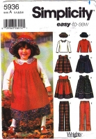 Simplicity 5936 Toddler Jumper Dress, Top, Hat  & Pants Sewing Pattern .5-4 Uncut