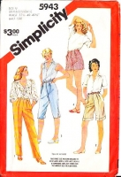Simplicity 5943 Pleated High Waist Pants, Capris & Bermuda Shorts Sewing Pattern 20.5-24.5 Waist 37-42 Uncut