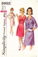 Simplicity 5952 60s Sleeveless V-Neck Dress & Jacket Sewing Pattern 42 B44 Used