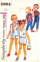 Simplicity 5984 60s Childs' Camp Shirt, Top, Shorts or Pants Sewing Pattern 4 B23 Used