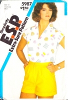Simplicity 5987 80s High Waisted, Cuffed Shorts & Wing Collar Top Sewing Pattern 6-10 B30-32 Uncut