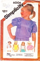 Simplicity 6006 Child's Knit Pullover Ruffled Tops Sewing Pattern 3-5 Used