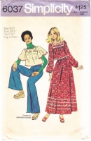 Simplicity 6037 Square Neck Peasant Top, Wide Leg Pants & Skirt Sewing Pattern 9/10 B30 Used