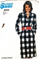 Simplicity 605 Notch Collar, Button Front Coat Dress Sewing Pattern B32-36 10-14 Uncut