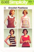 Simplicity 6065 70s Misses Pullover Top Crochet Pattern S-L B31-40 Used