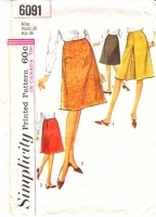 Simplicity 6091 1960s A-Line, Inverted Pleat  Skirt Sewing Pattern Waist 26 Used