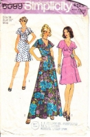 Simplicity 6099 70s Disco Flutter Sleeve, Wrap Dress Sewing Pattern 14 B36 Used