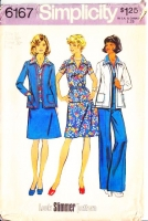Simplicity 6167 70s Look Slimmer Jacket, Top, Skirt & Pants Sewing Pattern 16 B38 Uncut