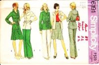 Simplicity 6191 70s Curved Yoke Jacket, Flared Skirt & Pull-on Pants Sewing Pattern 12 B34 Uncut