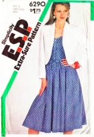 Simplicity 6290 Sleeveless Shirtwaist Dress & Cropped Jacket Sewing Pattern 16-20 B38-42 Uncut
