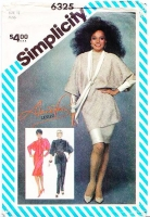 Simplicity 6325 Diana Ross Batwing Bias Dress, Tunic Top & Pants Sewing Pattern 14 B36 Uncut
