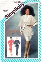 Simplicity 6325 Diana Ross Batwing Bias Dress, Tunic Top & Pants Sewing Pattern 14 B36 Uncut