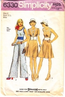 Simplicity 6330 70s Stretch Knit Tank Top, Skirt, Jacket, & Pants Sewing Pattern 8 B31 Used