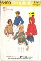 Simplicity 6490 70s Hoodie, Track Suit Jacket & Pullover Sweatshirt Top Sewing Pattern 14 B36 Uncut