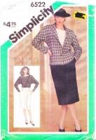 Simplicity 6522 Batwing 80s Top, Pencil Skirt & Jacket Sewing Pattern 14 B36 Uncut