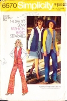 Simplicity 6570 Short Flared Skirt & Pants with Hip Length Vest Sewing Pattern 10 B32 Used