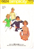 Simplicity 6624 70s V-Neck Stretch Knit Tops Sewing Pattern 16 B38 Used