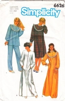 Simplicity 6626 Nightgown, Pajamas, PJs, Robe Sewing Pattern 6-8 B30-31 Uncut