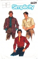 Simplicity 6629 Men's Classic Button Front, Collared, Long or Short Sleeve Shirt Sewing Pattern 42 Uncut