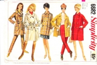 Simplicity 6682 60s Double Breasted Coat & Slacks Sewing Pattern 16 B36 Used NO INSTRUCTIONS