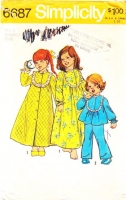 Simplicity 6687 Childs Robe, Nightgown, Pajamas, & PJs Sewing Pattern 5 Used