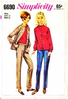 Simplicity 6690 60s Mandarin Collar Jacket & HipHugger Pants Sewing Pattern 10 B31 Used
