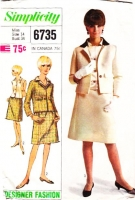 Simplicity 6735 60s Jackie O Style Boxy Jacket, Sleeveless Blouse & Skirt Suit Sewing Pattern 14 B34 Used