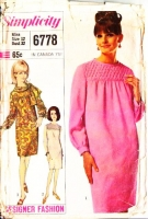Simplicity 6778 60s Smocked Dress & Scarf Sewing Pattern 12 B32 Used