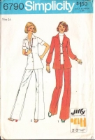 Simplicity 6790 Wing Collar Waitress Shirt Jacket & Pants Sewing Pattern 14 B36 Used