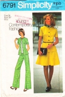 Simplicity 6791 Short Sleeve Top & Flared Skirt or Pants Sewing Pattern 14 B36  Uncut