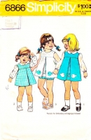Simplicity 6866 70s Toddlers' Finger Tip Length Jumper Dress, Top & Bloomers Sewing Pattern 1T Used