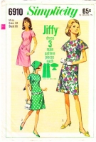 Simplicity 6910 Jiffy Fluttery Cap Sleeve 1960s Dress Sewing Pattern 10 B31 Used