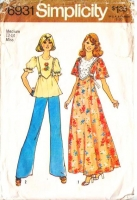 Simplicity 6931 Puff or Flutter Sleeve Top or Maxi Dress or Top Sewing Pattern Med B34-36 Used