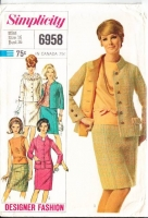 Simplicity 6958 Jackie O Style Boxy Suit with Standing Collar & Straight Skirt Sewing Pattern 16 B36 Uncut