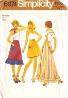 "Simplicity 6974 Ruffled 1970s Wrap Skirt Sewing Pattern Med 12-14 Waist 26-28"" Used"
