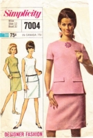 Simplicity 7004 Mod Two-Piece Dress, Blouse & Skirt 1960s Sewing Pattern 12 B32 Used