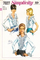 Simplicity 7027 Ruffled 1960s V-Neck Blouse Sewing Pattern 14 B34 Used