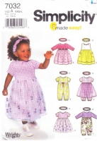 Simplicity 7032 Infant Baby Dress, Romper & Headband Sewing Pattern XXS-L Uncut