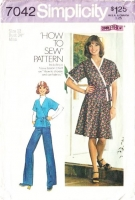 Simplicity 7042 Drop Shoulder, Front-Wrap Top or Dress Sewing Pattern 12 B34 Used