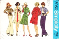 Simplicity 7050 Curved, Shirred Yoke Shirtdress or Shirt Sewing Pattern Medium B34-36 Uncut