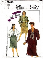 Simplicity 7054 Plus Size Career Suit, Button Front Bow Blouse, Knee-Length Skirt & Blazer Jacket Sewing Pattern 22½ B45 Used