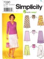 Simplicity 7090 Misses Pull-on Hi-Lo Bias Skirt Sewing Pattern 12-18 Waist 26-32 Uncut