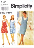 Simplicity 7108 Summer Shift Jumper Dress & Romper Sewing Pattern XS B30-38 Uncut