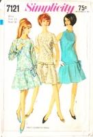 Simplicity 7121 Kicky Drop Waist 1960s Dress Sewing Pattern 16 B36 Used