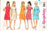 Simplicity 7199 Ring Collar A-Line 1960s Dress Sewing Pattern 14 B34 Used